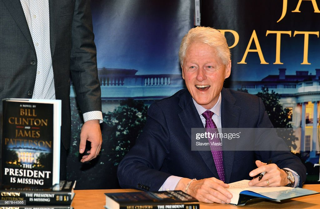 Bill Clinton signs copies of his new book co-writed with James Patterson 'The President Is Missing' at Barnes & Noble, 5th Avenue on June 5, 2018 in New York City.