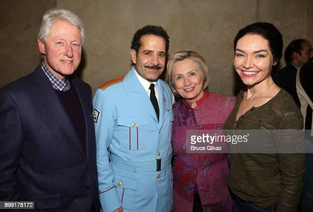 Bill Clinton Tony Shalhoub Hillary Rodham Clinton and Katrina Lenk pose backstage at the hit musical 'The Band's Visit' on Broadway at The Barrymore...