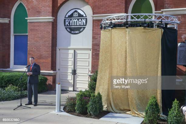 Bill Cody speaks during the unveiling of statues of Little Jimmy Dickens and Bill Monroe at Ryman Auditorium on June 7, 2017 in Nashville, Tennessee.
