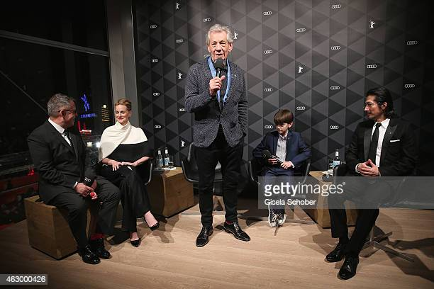 Bill Condon Laura Linney Sir Ian McKellen Milo Parker and Hiroyuki Sanada attend a QA for the film 'Mr Holmes' during the 65th Berlinale...