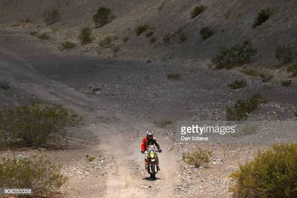 Bill Conger of the United States and Klymciw Racing rides a Husqvarna FR 450 Rally bike in the Classe 21 Super Production during stage eleven of the...