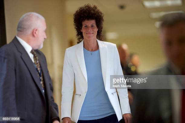 Bill Cosby accuser Andrea Constand arrives at the Montgomery County Courthouse on the third day of Cosby's sexual assault trial June 7 2017 in...