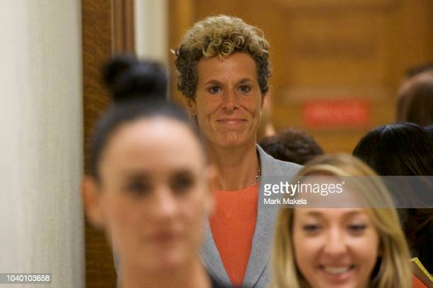 Bill Cosby accuser Andrea Constand reacts after he was sentenced to 310 years in the assault retrial at the Montgomery County Courthouse on September...