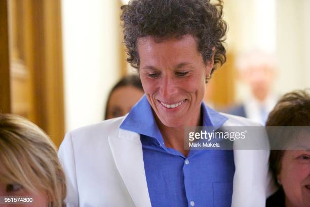 Bill Cosby accuser Andrea Constand reacts after the guilty on all counts verdict was delivered in the sexual assault retrial at the Montgomery County...