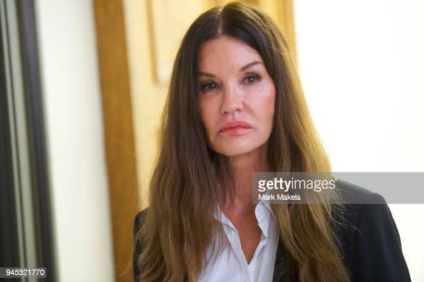 Bill Cosby accuser model Janice Dickinson walks through the Montgomery County Courthouse in a break from testifying on the fourth day of the sexual...