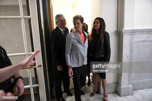 Bill Cosby accusers Andrea Constand and Janice Dickinson depart after he was sentenced to 310 years in the assault retrial at the Montgomery County...