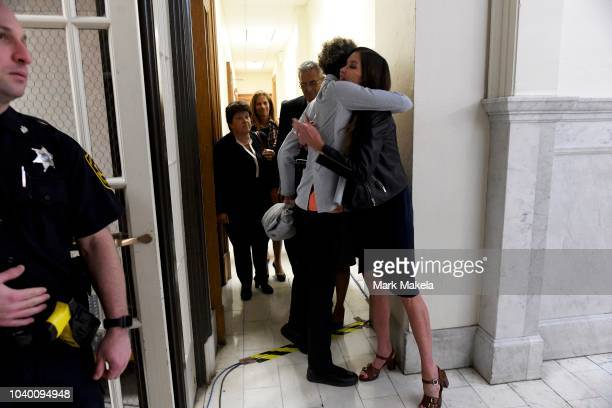 Bill Cosby accusers Andrea Constand and Janice Dickinson embrace after he was sentenced to 310 years in the assault retrial at the Montgomery County...