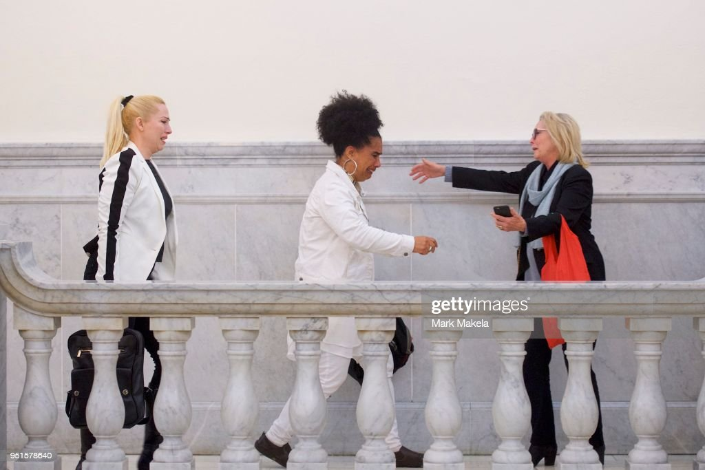 Bill Cosby accusers (L-R) Caroline Heldman, Lili Bernard, and Victoria Valentino react after the guilty on all counts verdict was delivered in the sexual assault retrial at the Montgomery County Courthouse on April 26, 2018 in Norristown, Pennsylvania. Cosby was found guilty on all accounts after a former Temple University employee alleges that the entertainer drugged and molested her in 2004 at his home in suburban Philadelphia. More than 40 women have accused the 80 year old entertainer of sexual assault.