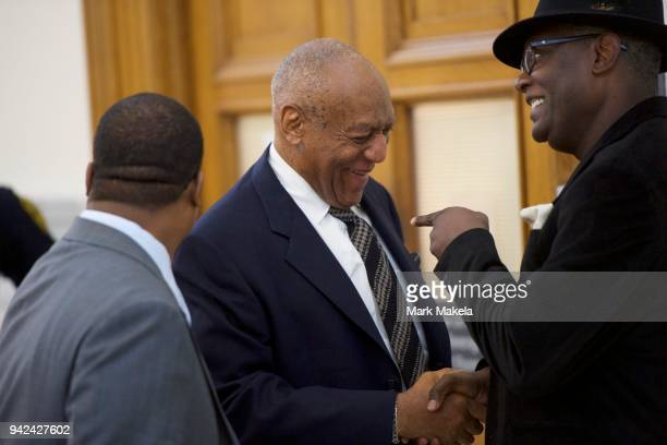 Bill Cosby and his spokesman Andrew Wyatt in the Montgomery County Courthouse after jury selection for his sexual assault retrial April 5 2018 in...