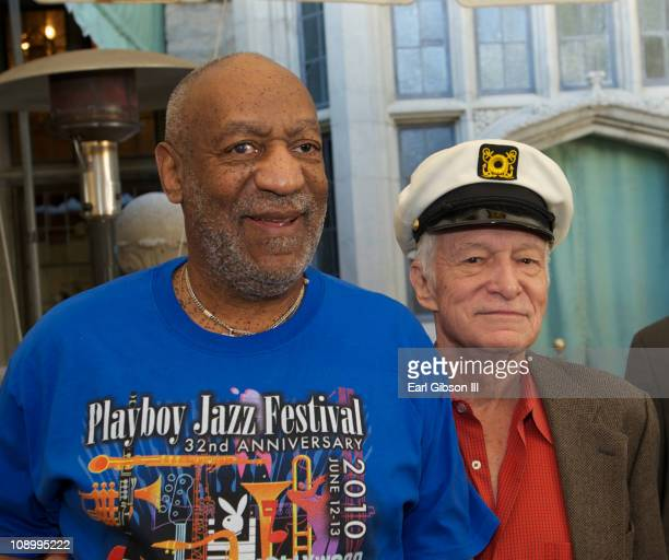 Bill Cosby and Hugh Hefner at The Playboy Mansion on February 10 2011 in Beverly Hills California