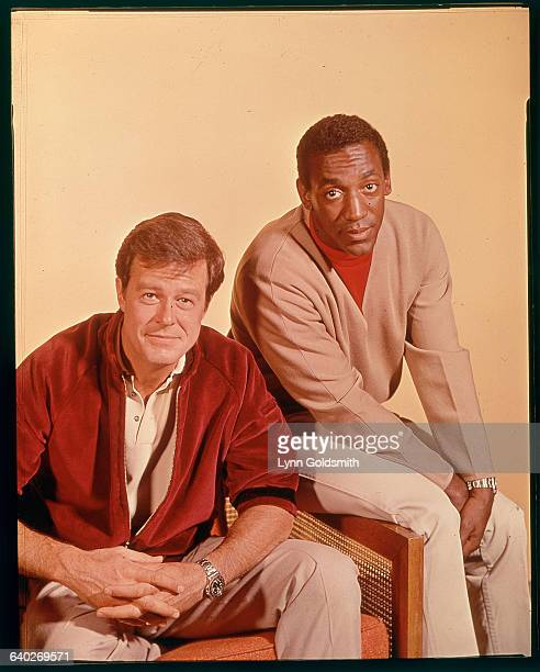 Bill Cosby and Robert Culp stars of the TV show I Spy are shown posed seated Undated ca 1960s