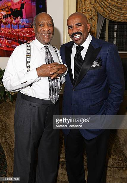 Bill Cosby and Steve Harvey attend Screen Gems Presents The Steve Marjorie Harvey Foundation Gala at Cipriani Wall Street on May 14 2012 in New York...
