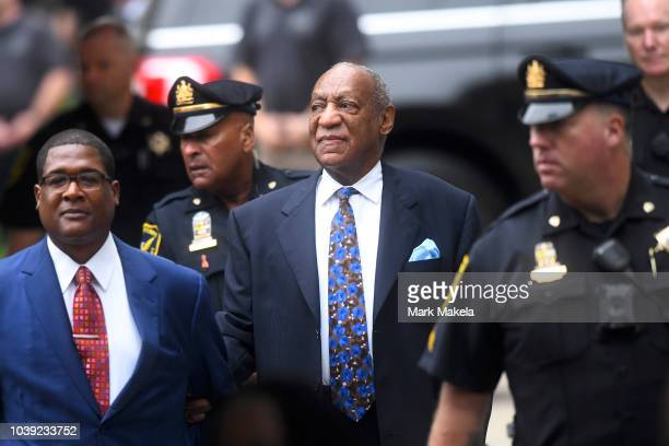 Cosby victim Chelan Lasha and Women's rights attorney Gloria Allred arrive for Bill Cosby's first day of Sentencing for his sexual assault trial at...