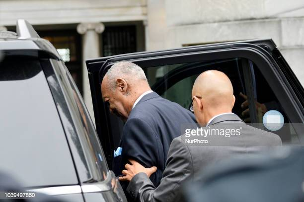 Bill Cosby departs after appearing before Judge Steven O'Neil for a sentencing hearing at the Montgomery County Court House in Norristown PA on...
