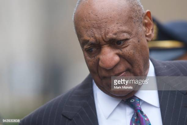 Bill Cosby departs the Montgomery County Courthouse after the first day of his sexual assault retrial on April 9 2018 in Norristown Pennsylvania A...