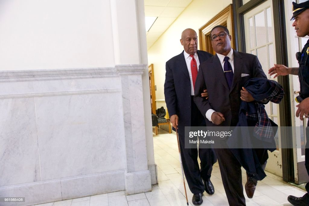 Bill Cosby (L) departs the Montgomery County Courthouse with his publicist, Andrew Wyatt, after being found guilty on all counts in his sexual assault retrial on April 26, 2018 in Norristown, Pennsylvania. Cosby was found guilty on all accounts after a former Temple University employee alleges that the entertainer drugged and molested her in 2004 at his home in suburban Philadelphia. More than 40 women have accused the 80 year old entertainer of sexual assault.