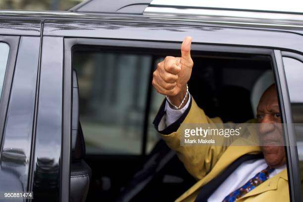 Bill Cosby gives a thumbs up sign while departing the Montgomery County Courthouse after the twelfth day of his sexual assault retrial on April 24...