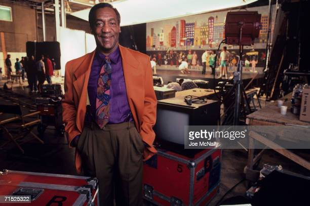Bill Cosby on the set where the new opening sequence for The Cosby Show's seventh season was shot at KaufmanAstoria Studios in New York in August 1990