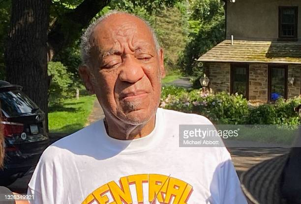 Bill Cosby speaks to reporters outside of his home on June 30, 2021 in Cheltenham, Pennsylvania. Bill Cosby was released from prison after court...
