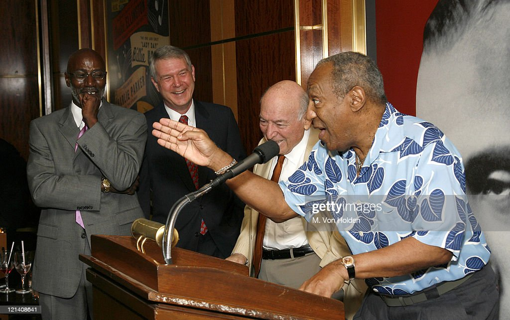 Bill Cosby (background from Left) Thelonious Monk Jr., Tom Carter, George Wein