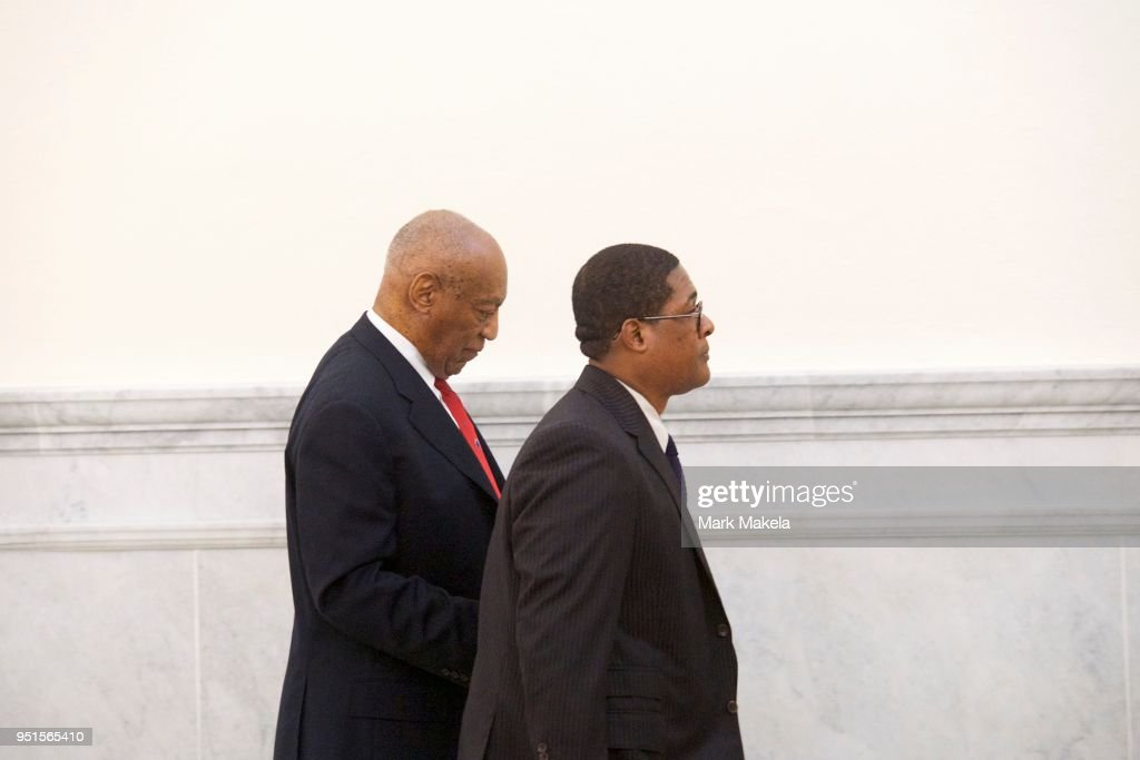 Bill Cosby (L) walks through the Montgomery County Courthouse with his publicist, Andrew Wyatt, after being found guilty on all counts in his sexual assault retrial at on April 26, 2018 in Norristown, Pennsylvania. Cosby was found guilty on all accounts after a former Temple University employee alleges that the entertainer drugged and molested her in 2004 at his home in suburban Philadelphia. More than 40 women have accused the 80 year old entertainer of sexual assault.