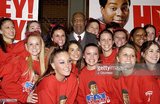 """Bill Cosby with Temple University Cheerleaders during """"Fat Albert"""" Philadelphia Premiere - Arrivals at Temple University Liacouras Center in..."""