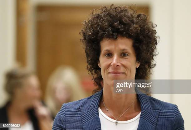 Bill Cosbys accuser Andrea Constand leaves the courtroom after closing arguments in the Cosby trial at the Montgomery County Courthouse in Norristown...