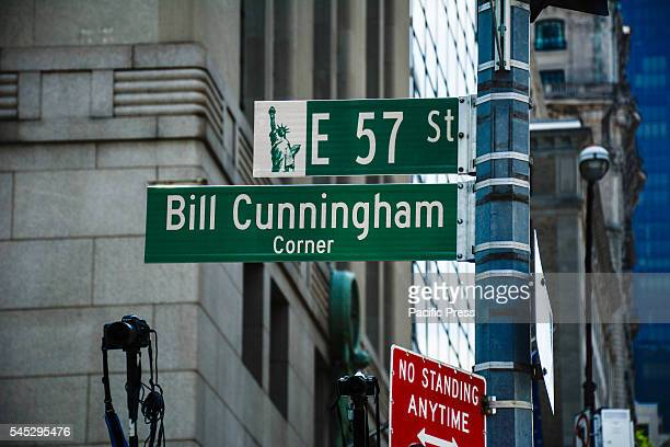 Bill Cunningham Corner NYC street named after legendary photographer Bill Cunningham Corner of 5th Avenue and 57th