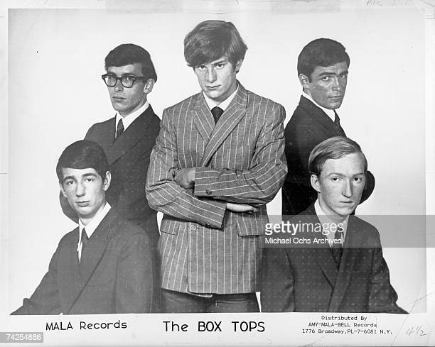 Bill Cunningham Danny Smythe Alex Chilton Gary Talley of the band 'Box Tops' pose for a portrait circa 1967 Singer Alex Chilton is in the center