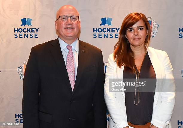 Bill Daly and Sandra Monteiro at Hockey SENSE in partnership with the NHL NHLPA and Beyond Sport at the World Cup of Hockey 2016 at Hockey Hall of...