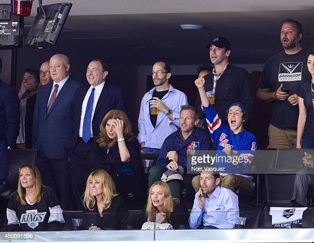 Bill Daly Gary Bettman Kate Bosworth Michael Polish Spike Jonze and Jon Hamm attend Game One of the 2014 NHL Stanley Cup Final at the Staples Center...