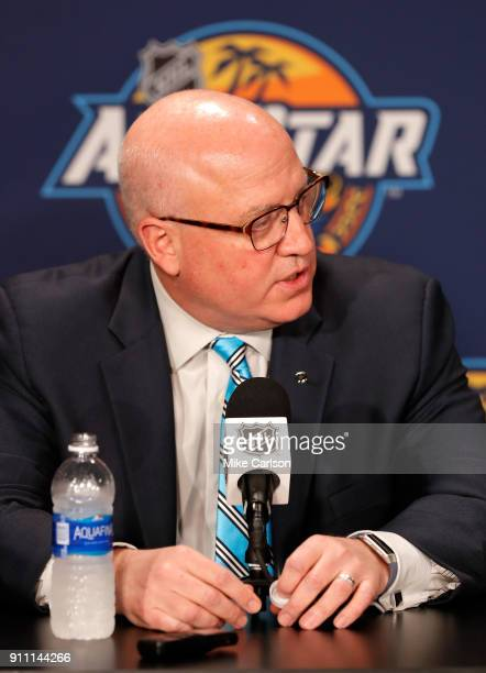 Bill Daly NHL Deputy Commisioner speaks during media availability prior to 2018 Geico NHL AllStar Skills Competition at Amalie Arena on January 27...