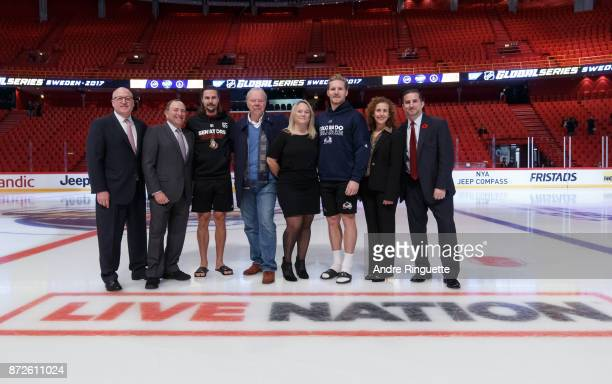 Bill Daly NHL Deputy Commissioner Gary Bettman NHL Commisisoner Erik Karlsson of the Ottawa Senators Thomas Johansson Chairman Live Nation Nordics...