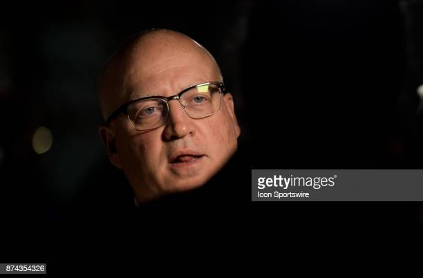 Bill Daly of the NHL gives an interview before the 2017 Hockey Hall of Fame induction ceremony at Brookfield Place on November 13 2016 in Toronto ON...