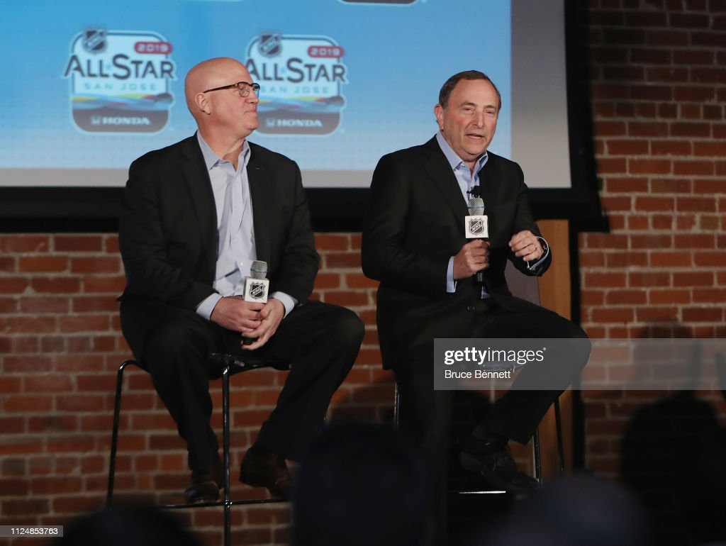 2019 NHL All-Star - NHL Commissioner Gary Bettman Press Conference And Innovation Spotlight : News Photo