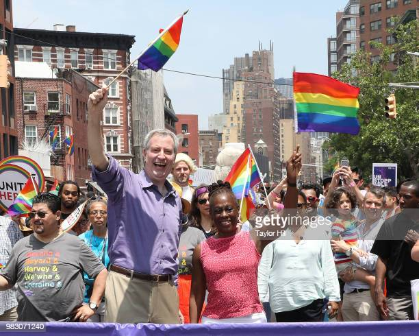 Bill de Blasio and Chirlane McCray attend the 2018 NYC Pride March on June 24 2018 in New York City