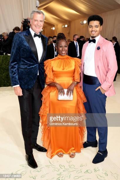 Bill de Blasio, Chirlane McCray and Dante de Blasio attend The 2021 Met Gala Celebrating In America: A Lexicon Of Fashion at Metropolitan Museum of...