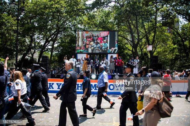 Bill de Blasio Mayor of New York City participates in a ticker tape parade to honor workers who helped in New York during the Covid-19 pandemic on...