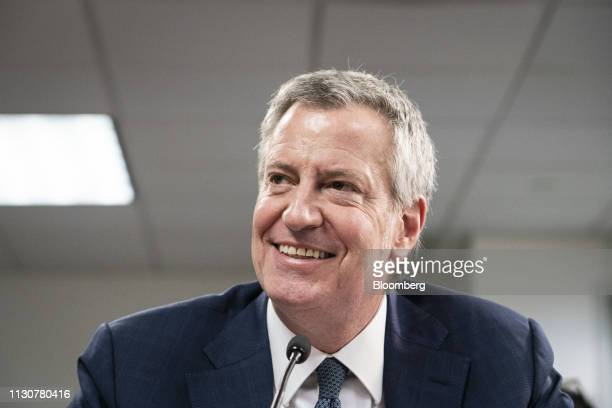 Bill de Blasio mayor of New York smiles during a public hearing on school governance and mayoral control in New York US on Friday March 15 2019 De...
