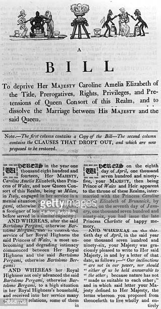 Bill demanding the dissolution of the marriage between King George IV and his wife Queen Caroline Amelia Elizabeth of Brunswick, on the grounds of...
