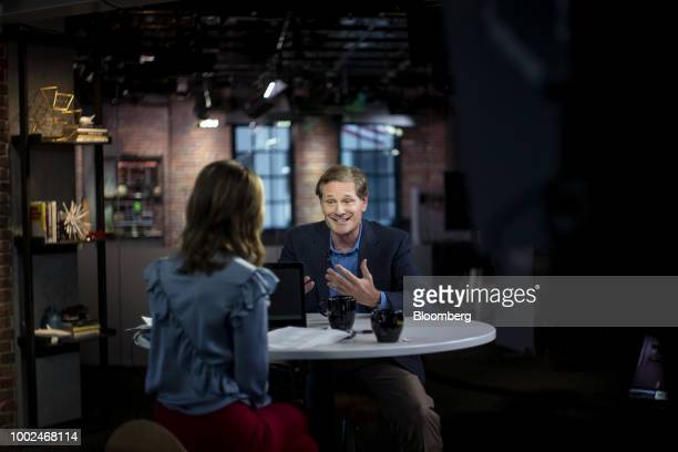 Bill Demas chief executive officer of Conviva Inc smiles during a Bloomberg Technology Television interview in San Francisco California US on Monday...