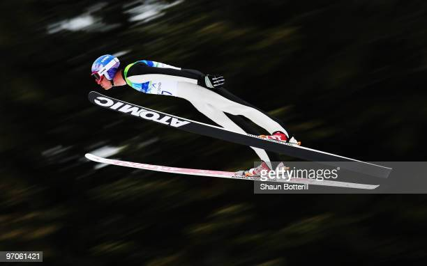 Bill Demong of the United States practices ahead of the Nordic Combined Individual Large Hill Ski Jump on day 14 of the 2010 Vancouver Winter...