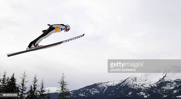 Bill Demong of the US competes in the men's Nordic Combined team Ski Jumping trial at the Whistler Olympic Park during the Vancouver Winter Olympics...