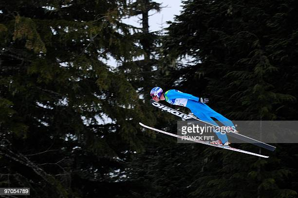 Bill Demong of the US competes in the Nordic Combined men's Ski Jumping Individual LH at Whistler Olympic Park during the Vancouver Winter Olympics...