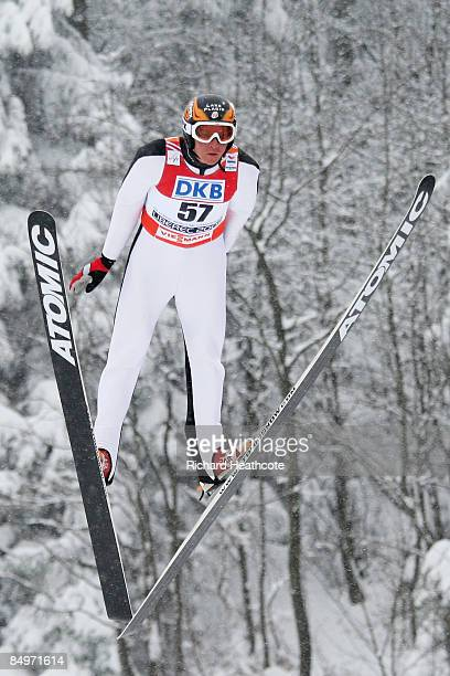 Bill Demong of USA jumps during the Ski Jumping 100M Hill competition of the Nordic Combined Individual event at the FIS Nordic World Ski...