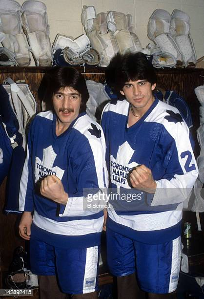 Bill Derlago and Rick Vaive of the Toronto Maple Leafs pose in the locker room in February 1981