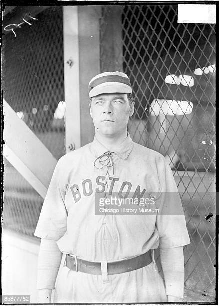 Bill Dineen, also known as Big Bill Dineen, pitcher for the Boston Americans of the American League, standing in front of concourse netting at South...