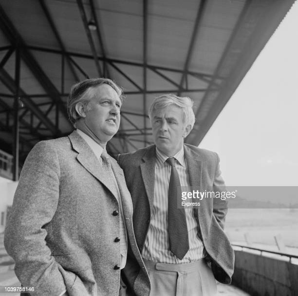 Bill Dodgin Jr Manager of Northampton Town FC pictured on right with former Northampton Town manager Dave Bowen at the County Ground in Northampton...