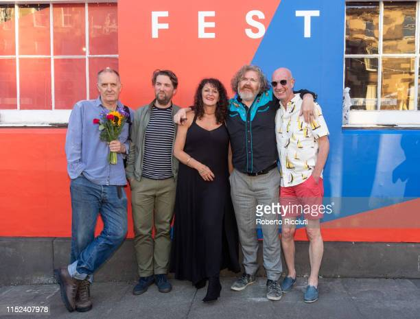 Bill Drummond Finlay Pretsell Tracey Moberley Paul Duane and Tam Dean Burn attend a photocall for the World Premiere of 'Best before death' during...