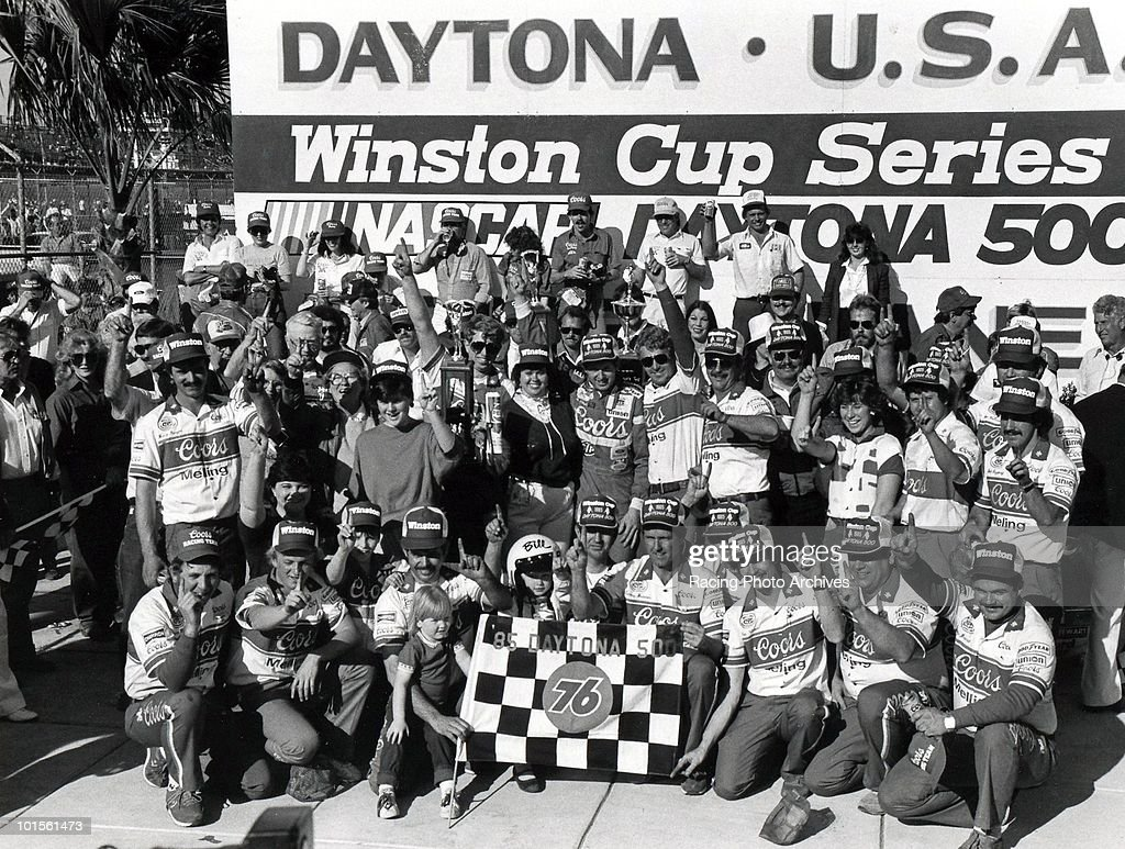 Bill Elliott and Harry Melling celebrate in Victory Lane with the crew after winning the Daytona 500. Elliott would take home $185,500 for the race.